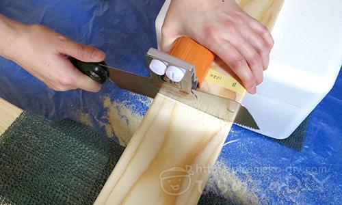 ソーガイドミニで木材カット